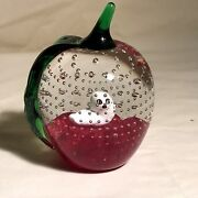 Gibson Art Glass Apple Paperweight W/worm Or Seal Pup Figurine And Controlled Air