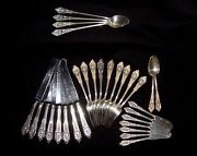 30 Pcs Wallace Rose Point Sterling Silver 9 Forks 15 Knives 4 Iced 2 Tea Spoons