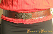 Medieval Victorian With Vintage Stamps And Buckle Leather Belt