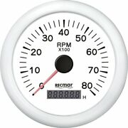 Tachometer 8000 Rpm And Digital Hour Meter Universal Outboard Gauge White Face
