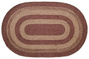 New Primitive Country Wine Red Burgundy Tan Braided Jute Rug Area Throw 60x 96