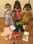 American Girl Dolls Felicity, Kya And Addy And Accessories