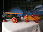 Folk Art Andndashsteam Engine Thresher And Oxen Pulled Water Wagon. Very Old.