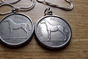 2x Irish Horse Coin Pendants A Pair 33mm On Two 28 925 Silver Snake Chains
