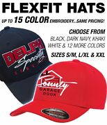 144 Custom Logo Flexfit Hats - 17 Colors Available / 15 Color Embroidery