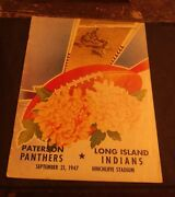 American Football League Program Paterson Panthers Vs L. I. Indians 09-21-47