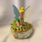 Disney Ron Lee 1998 Peter Pan Tinkerbell On The Leave Le Figurine W/ Onyx Base