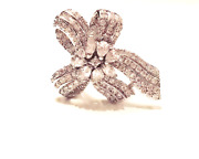 Vintage Jewelry - 1940s Art Deco White Crystal Silver Ribbon Cocktail Ring 7
