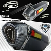 1-1/4 Rolled Carbon Look Tip Motorcycle 1.5-2 Performance Exhaust Muffler Kit