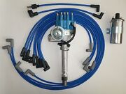 Blue Chevy 350 Small Hei Distributor +chrome Coil+spark Plug Wires Under Exhaust