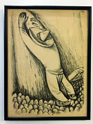 Vintage Nicolai/nicolas Remisoff Charcoal Drawing Of Ethnic Man Signed In Pencil