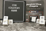 Deluxe Penny Cent Coin Collector Kit Binder Album Pages 200 Paper Holders Flips