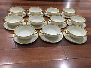 Lenox Porcelain Set Of 11 S8 White And Gold Encrusted Bouillon Soup Cups And Saucers