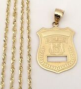 Real 14k Yellow Gold Police Badges Charm Pendant + Singapore Chain 18 Inch