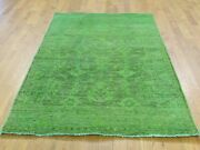 4and0391x6and0392 Hand Knotted Green Cast Peshawar Overdyed Pure Wool Rug G35419