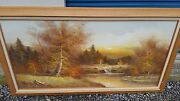 Giant Oil On Canvas Fall Landscape Almon Beautiful Oak And Cloth Frame