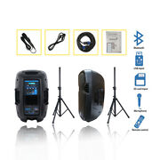 Dual 12 Pa Active Speakers System 2000w Dj Powered Usb Bt Audio Speaker Stands