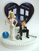 Wedding Cake Topper Doctor Who Dr. Themed Ball Chain Screwdriver Fans W/ Garter