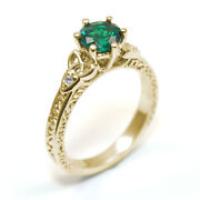 Trinity Knot Ring Emerald And Diamond 6 Claw 9ct Gold Uk Hallmarked