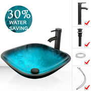 Square Vessel Glass Sink Faucet Pop Up Drain Artistic Tempered Bowl 1.5gpm Combo
