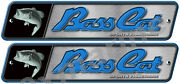 2 Bass Cat Boats Classic Vintage Stickers Remastered 16x3.5 Die-cut