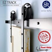 Sliding Barn Door Hardware 6and0396 Black And Brown Coffee Steel Track Set Kit
