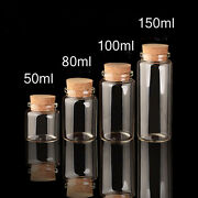 50pcs 100ml 47mm Multi Purpose Vial Empty Clear Glass With Cork Lid Bottles