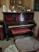 Antique 1886 Mcphail Imperial Upright Grand Piano Mahogany/rosewood. Tuned.
