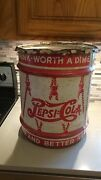 Pepsi Cola 5 Cent Double Dot 10 Gallon Soda Syrup Drum Large Can 1940's With Lid