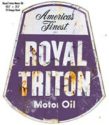 Royal Triton Motor Oil Reproduction Laser Cut Out Metal Sign 18.5x21.5