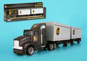 Daron 1/87 Ho Scale Diecast Ups 12 Wheels Tractor With 2 Trailers Rt4345