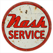 24x24 Large Format Nash Service Station Metal Sign Round Reproduction
