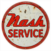 Lg Reproduction Metal Sign Aged Nash Service Station Motor Oil 18x18 Round