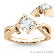 Round Brilliant Cut Moissanite Fancy Solitaire Engagement Ring In 14k Rose Gold