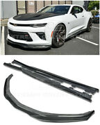 For 16-up Camaro Ss   Eos T6 Style Carbon Fiber Front Lip Splitter And Side Skirts