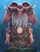 Angel Painting Love Garden Of Eden Artwork Signed Stretched Canvas Print