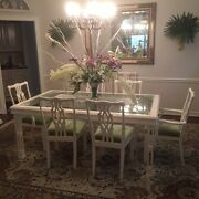 White Dining Room Table Glass Top 8 Chairs And Lighted China Closet 2500.