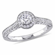 Amour 1 Ct Tw Diamond Halo Vintage Engagement Ring In 14k White Gold
