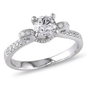 Amour 1 Ct Tw Diamond Raised Engagement Ring In 14k White Gold