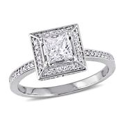 Amour 3/4 Ct Tw Diamond Halo Engagement Ring In 14k White Gold