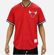 New Red Chicago Bulls Mitchell And Ness Nba Menand039s Mesh Button Down Jersey Shirt