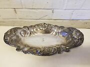 Antique Mermod Jaccard Repousse Silver Plated Open Entree Or Bread Serving Dish