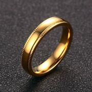Sz 6-11 Stainless Steel Gold Plated Band Men Womenand039s 4mm Engagement Party Ring