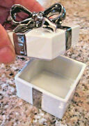 Lefton China Trinket Jewelry Box Porcelain Hand Painted Silver Bow Present 672