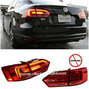 For 11-14 Vw Jetta Mk6 4dr Euro Spec Rear Led Strip Clear Red Lens Tail Light