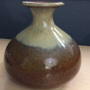 "Hand Thrown Studio Pottery Vase Pot Brown Beige Drip Glaze 6"" Tall Signed"