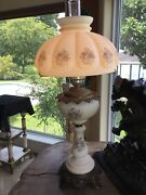 Very Tall Vintage Hand Painted Fenton Glass Table Lamp