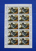 U.s. Wi05 1982 Wisconsin State Duck Stamp Mnh Booklet Pane Of 10