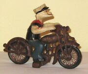 Cast Iron Popeye On A Motercycle