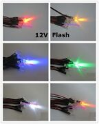 5mm Flash Flashing Red Yellow Blue Green White Orange Pre-wired Led 12v Leds New